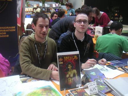 L\'équipe artistique du comic book Bayou Girl en dédicace à Floirac en mars 2008